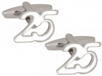 Dalaco 90-1369 25th Birthday Celebration Rhodium Plated Cufflinks